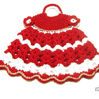 Christmas Crochet Potholder, Crochet Potholder Red and White, Presina vestito bianco e rosso (Cod. 72)