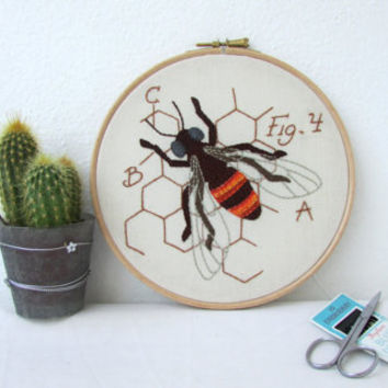 Honey Bee hand embroidery, insect embroidery hoop art, insect wall art, textile art, entomology gift for scientist handmade in the UK