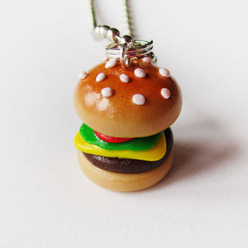 Polymer Clay Deluxe Cheeseburger Necklace