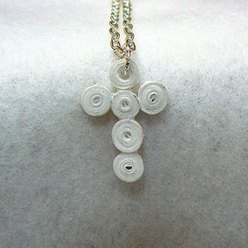 Quilled Paper Cross Pendant Necklace with Silver Plated Chain, White, Hand Made