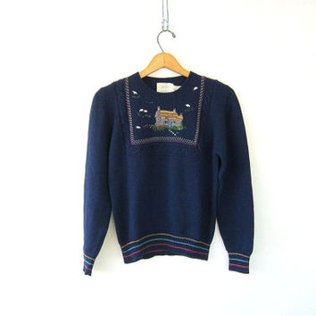 navy blue sweater. cozy farm cottage sweater. country novelty sweater with sheep. Lambswool & Cotton size small medium