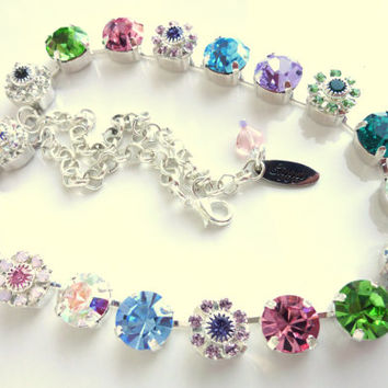 NEW, Swarovski crystal necklace, SPRING BLING, 11mm choker in rainbow flowers, better than sabika