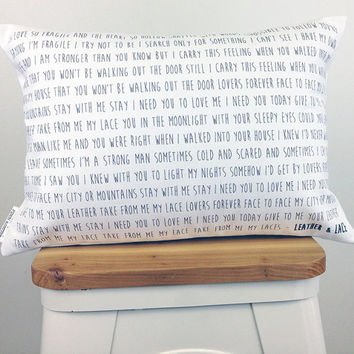 Song Lyrics Pillow, 2nd Anniversary Cotton Gift, Wedding Gift, Custom Pillow, Words Pillow, Gift for Friend, Home Decor