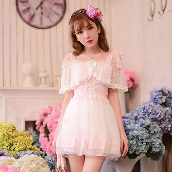 Princess sweet lolita dress Candy rain cute Japanese style Summer Condole belt Dew shoulder lace chiffon dress C16AB6033