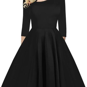 Black Pleated Button Cut Out Round Neck Long Sleeve Fashion Midi Dress
