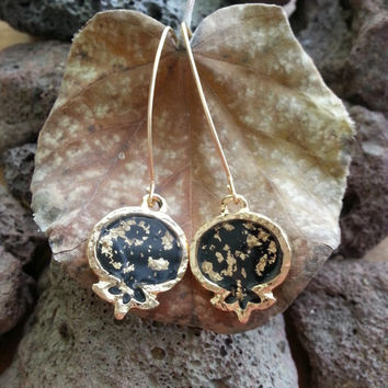 Black Pomegranate Earrings, Gold Earrings, Gold Leaf, Resin Jewelry