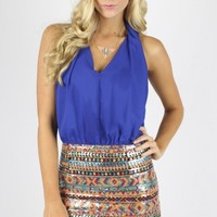 Royal Sequin Aztec Dress