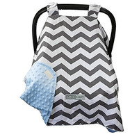 13 Color Options - Car Seat Canopy Cover by CRAZZIE - (Zigzag Grey/blue)