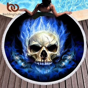 BeddingOutlet Flame Skull Large Round Beach Towel 3D Blue Yellow Fire Microfiber Toalla Picnic Blanket Gothic Yoga Mat 150cm