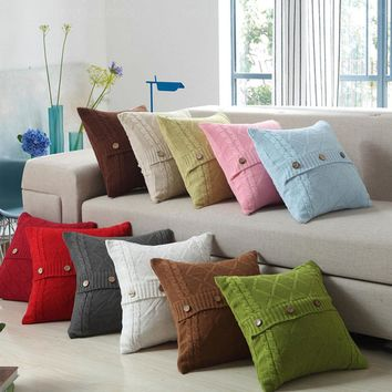 pillowcases Retro Style Knitted Wool Pillow Case Button Waits Bedroom Decorative Pillows Square Throw Pillows Cover 2018