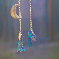 Titanium Rainbow Quartz Moondew Earrings by MarinaFINI on Etsy