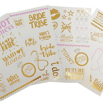 PartyFuFu Bachelorette Party Tattoos Mixed Set of 40 Gold Metallic Temporary Flash Tattoos