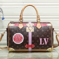 Louis Vuitton Women Fashion LV Handbag Bag Cosmetic Bag Medium Bag Coffee Print