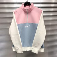 """Nike"" Women Casual Sweet Macaron Stitching Multicolor Letter Print Long Sleeve Zip Turtleneck Sweater Sweatshirt Tops"
