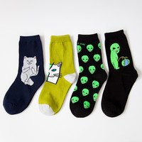 New Cotton Socks for Women Men Cat Alien Socks Hip hop Harajuku Skateboard Socks Funny Socks 36-42
