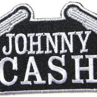 "5"" x 2.25""JOHNNY CASH Gun Rockabilly Rock Punk Music Band Logo jacket T-shirt Patch Iron on Embroidered Logo Sign Badge music patch by Tourlesjours"