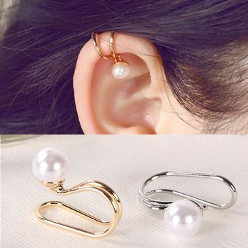 ES676 Fashion Unicorn Brincos Earing Bijoux Imitation Pearl Clip Ear Cuff Earrings For Women Simulated-Pearls Jewelry Earings