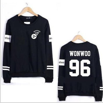 Seventeen New fishion  hoodie unisex black Sweatshirts high quality