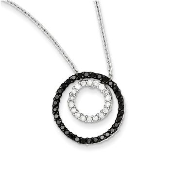 Black & White Diamond 17mm Double Circle Necklace in Sterling Silver