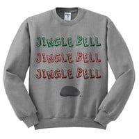 Grey Crewneck Jingle Bell Rock Ugly Christmas Sweatshirt Sweater Jumper Pullover