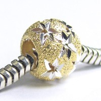 Dreambell .925 Sterling Silver with Gold Tone Twinkle Star Starry Night Universe Stardust Bead For Pandora European Charm Bracelets