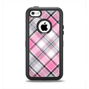 The Black and Pink Layered Plaid V5 Apple iPhone 5c Otterbox Defender Case Skin Set