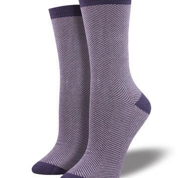 Bamboo Purple Herringbone Socks