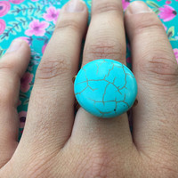 Turquoise, Gemstone, Round Stone, Turquoise Ring, Copper, Bohemian, Boho Ring, Wire Wrap, Native American, Navajo, Gypsy,Hippie,Southwestern