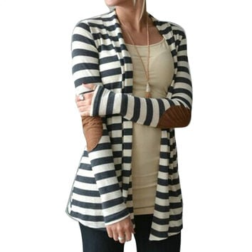 Black and White Striped Elbow Patching PU Leather Long Sleeve Knitted Cardigan Fall Slim 2016 Autumn Women Sweater WCA1001