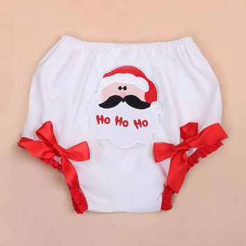 Baby Shorts Christmas Ruffle Lace Bloomers Cotton White Diaper Cover Santa Claus Newborn Tutu Panties Girls Infant Free shipping