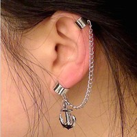 Silver Tassel Anchor Ear Clip from http://www.looback.com/