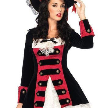 Charming Pirate Captainvelvet Layered Waistcoat Dress W/lace Accent In Black/red