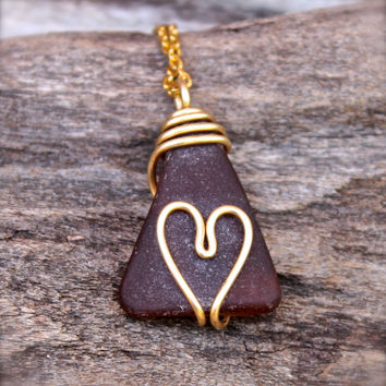 Sea Glass Jewelry from Hawaii - Heart Necklace - Wire Wrap Seaglass Jewelry - Beach Boho Jewelry - Sea Glass Necklace - Sea Gypsy Necklace