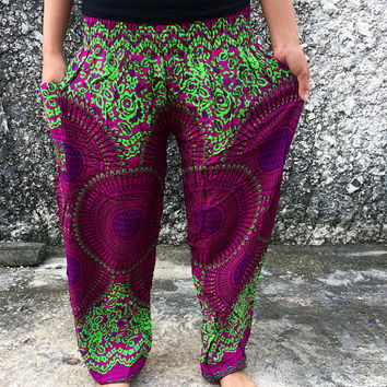 Yoga Pants Bohemian Boho Style Hippies Indian fabric Mandala Pattern Gypsy Vegan Festival Summer Beach Clothing Men women uniqe gifts unisex
