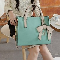 New Style Hit Color Three-dimensional Bow Handbag-sky blue