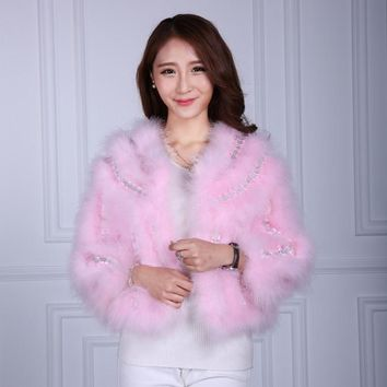 Autumn Winter Fashion Luxury Women Ostrich Feather Coat Real Fur Coat Overcoat Long-sleeved Slim Fur Coats Jacket Party Outwear