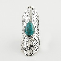 Blue Turquoise Cut Out Sterling Silver Ring