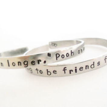 Personalized Winnie the Pooh and Piglet Inspired Quote Bracelets - Friendship Bracelets - A Pair of Hand Stamped Bracelets - Customizable