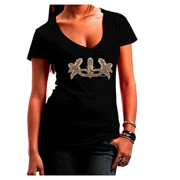 Earth Masquerade Mask Juniors V-Neck Dark T-Shirt by TooLoud