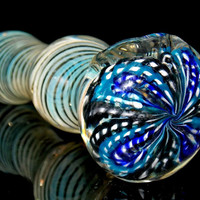 Color Changing Silver Spiral Spoon Pipe - Fumed Glass Smoking Bowl with Blue Latticino Flower Top