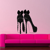 Room Wall Vinyl Sticker Decals Mural Design Mural Girl High Hell Shoes Bow Knot Polka Dots 889