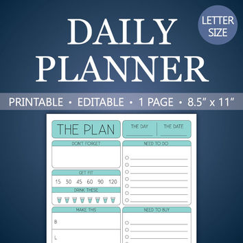 Daily Planner Printable 8.5 x 11 Editable PDF To-Do Fitness Shopping List Health Tracker Meal Plan Reminders INSTANT DOWNLOAD - Light Blue