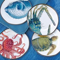 SEA CRITTER OUTDOOR SALAD PLATE, SET OF 4