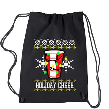Holiday Cheer Red Cup Ugly Christmas Drawstring Backpack