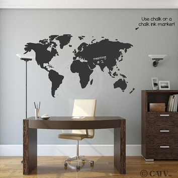 World Map Chalkboard vinyl lettering wall saying decal sticker