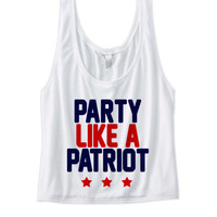 4th of July Tank Top Shirt Crop Top Women Ladies Juniors - Party Like a Patriot