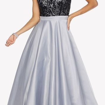 Silver Sleeveless Floor Length Quinceanera Dress with Keyhole Back