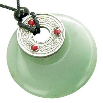 Double Protection Circle Celtic Knot Money Talisman Pendant Necklace