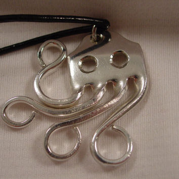 A Fork Octopus Necklace Pendant on a Black Cord Handmade Spoon and Fork Jewelry o1