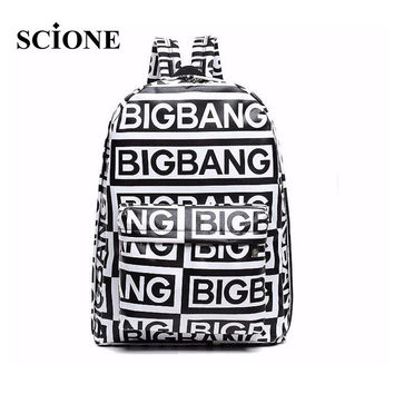 2016 korean style fashion kpop black canvas bigbang fans bagpack G-dragon punk rock backpack school bag for teenager girls 421t